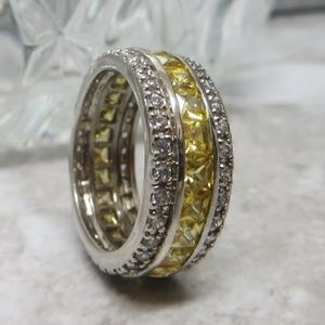 yellow sapphire 925 sterling silver ring size 9